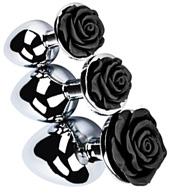 XR Brands Booty Sparks Black Rose Polished Aluminum Anal Plug collection